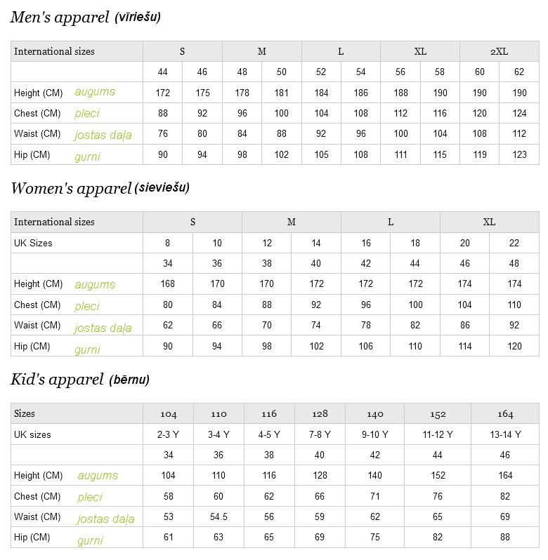 adidas apģērbu izmēru tabula