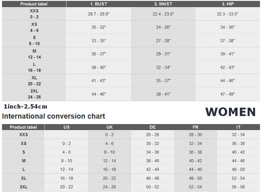 Adidas sieviešu apģērbu izmēru tabula